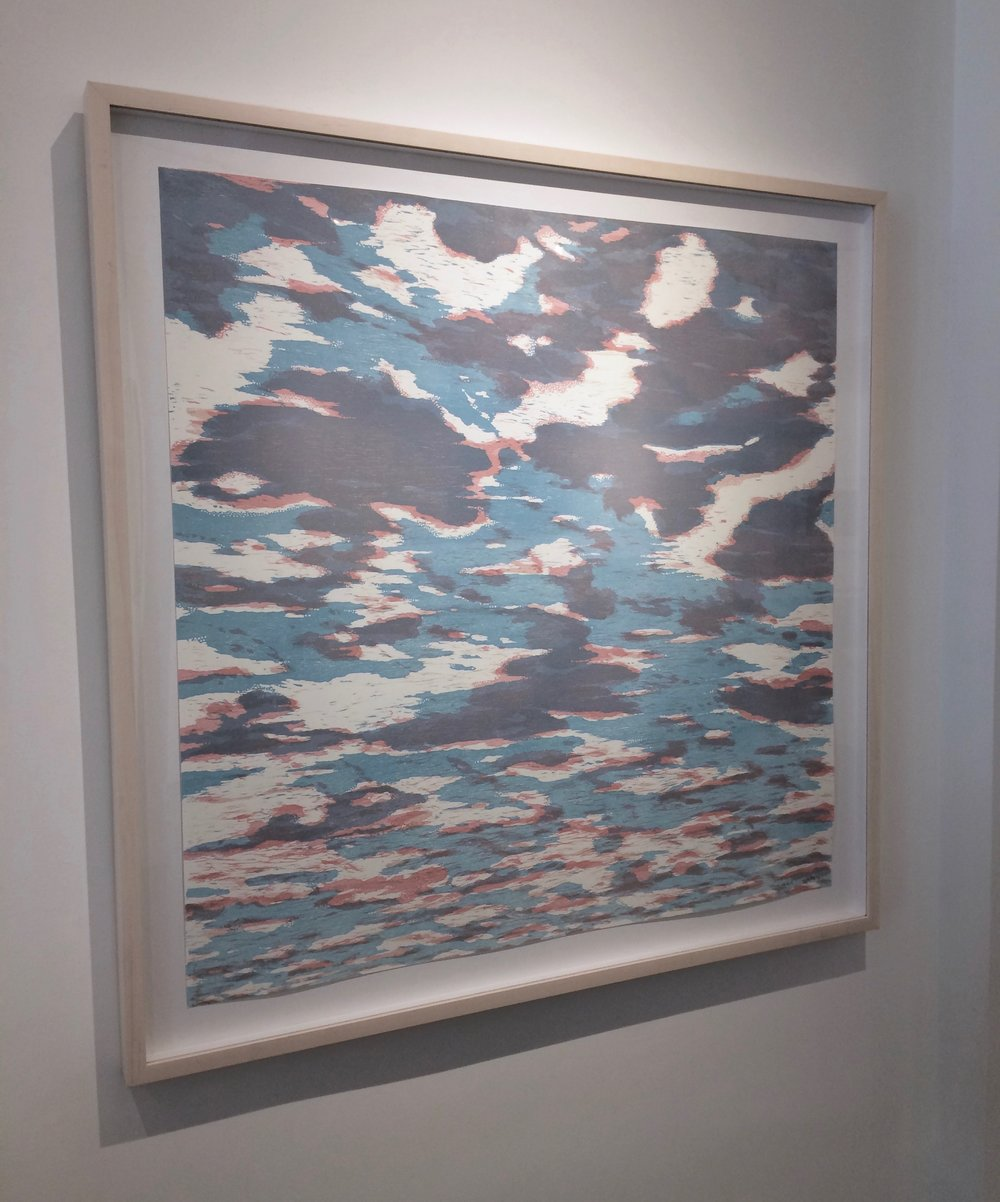Clouds variation 40 , 2016, woodcut print with colored inks on paper, edition 1/1 (monotype), 36 x 36 inches (unframed), 41.25 x 41.25 inches (framed), $3000. (unframed), $3625. (framed)