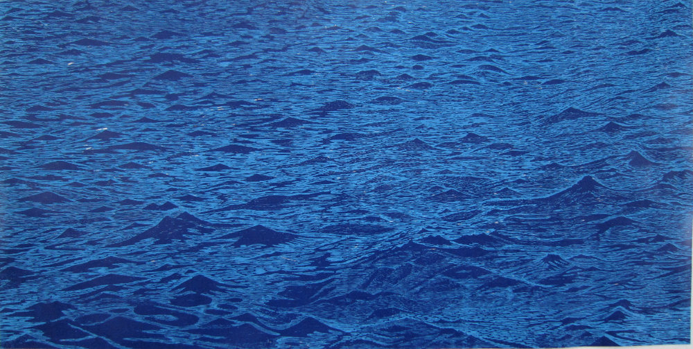 Big Blue Seascape , 2011, woodcut print with colored inks on paper, edition 1/5, 36 x 72 inches , $6000. (unframed)