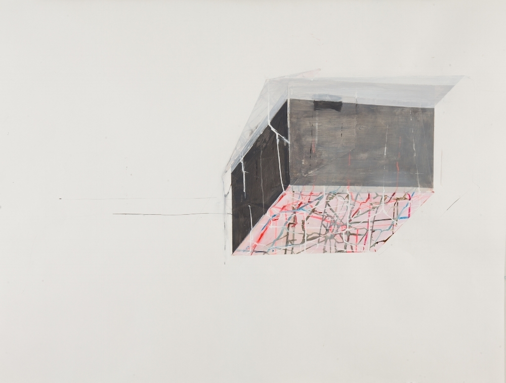 Antonietta Grassi,  House Float no. 2 , 2014, mixed media on paper, 38.5 x 50.5 inches (unframed), $3600. (unframed)