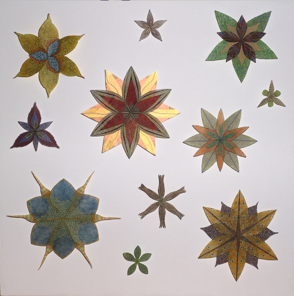 Jill Parisi,  Shiny Star , 2017, hand-colored intaglio prints on hand-cut loktah tissue and hand-colored digital prints on hand-cut kozo and hand-cut handmade paste paper pinned with entomology pins to foam core, 36 x 36 x 2.5 inches (framed), $5200. (framed) (sold)