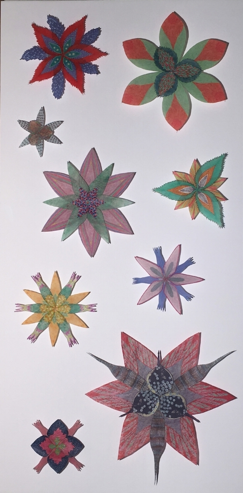 Jill Parisi,  Spinney Stars , 2017, hand-colored intaglio prints on hand-cut loktah tissue and hand-colored digital prints on hand-cut kozo pinned with entomology pins to foam core, 40 x 20 x 2.5 inches* (framed), $4800. (framed) *can be oriented vertically or horizontally