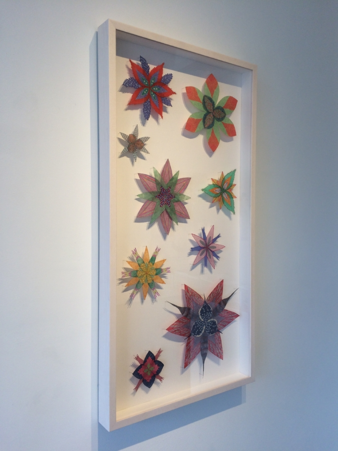 Jill Parisi,  Spinney Stars  (installation view), 2017, hand-colored intaglio prints on hand-cut loktah tissue and hand-colored digital prints on hand-cut kozo pinned with entomology pins to foam core, 40 x 20 x 2.5 inches* (framed), $4800. (framed) *can be oriented vertically or horizontally