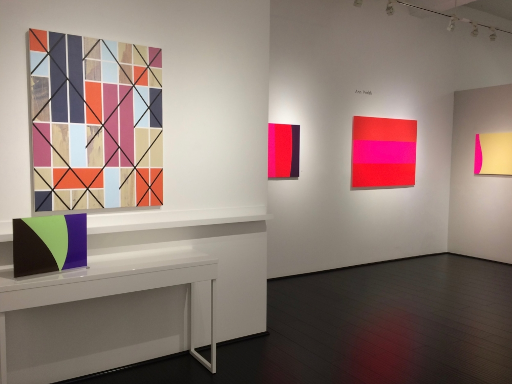 Installation view alongside artwork by Ann Walsh