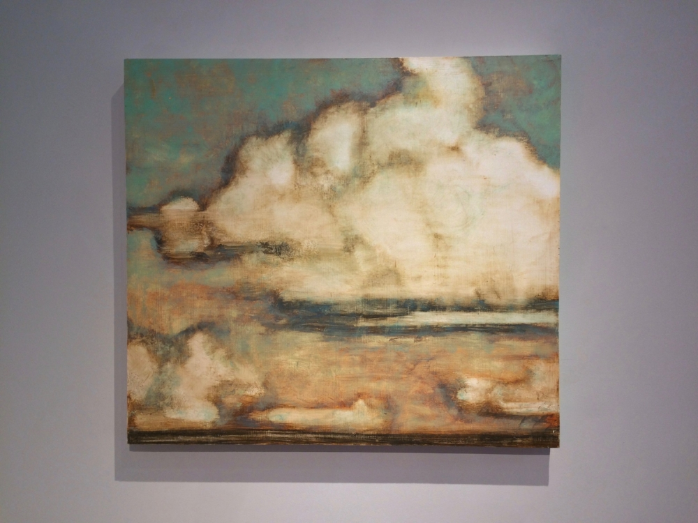 Clouds Over Greenport  (installation view), 2015, oil on panel, 25 x 28 inches, $3800.
