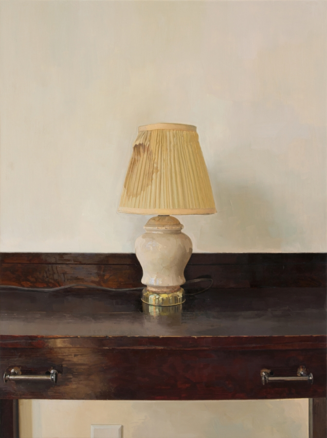 Lamp Revisited , 2015, oil on panel, 40 x 30 inches, $6000.