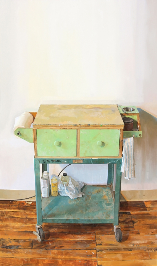 Painting Cart , 2015, oil on panel, 69 x 41 inches, $10,000.