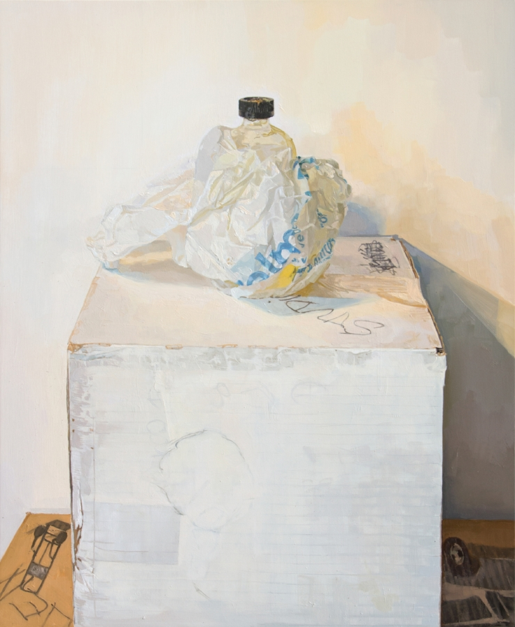 Leaking Linseed Bottle , 2015, oil on panel, 23 x 19 inches, $4000.