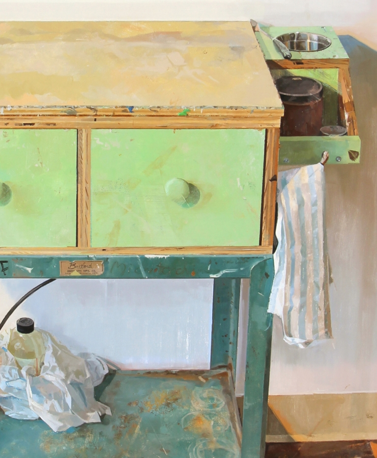 Painting Cart  (detail), 2015, oil on panel, 69 x 41 inches, $10,000.
