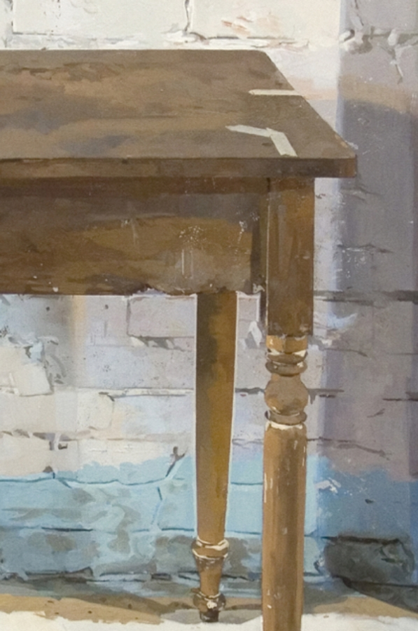Jeffery's Table  (detail), 2013, oil on panel, 56 x 36 inches, $8500.