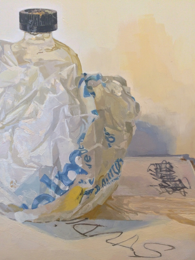 Leaking Linseed Bottle  (detail), 2015, oil on panel, 23 x 19 inches, $4000.