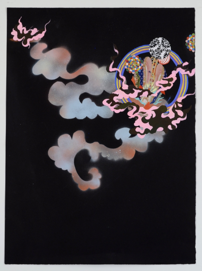Jackie Tileston,  Field Guide #6 , 2014, gouache and collage on black paper, 34 x 26.5 inches (framed), $2800. (framed)