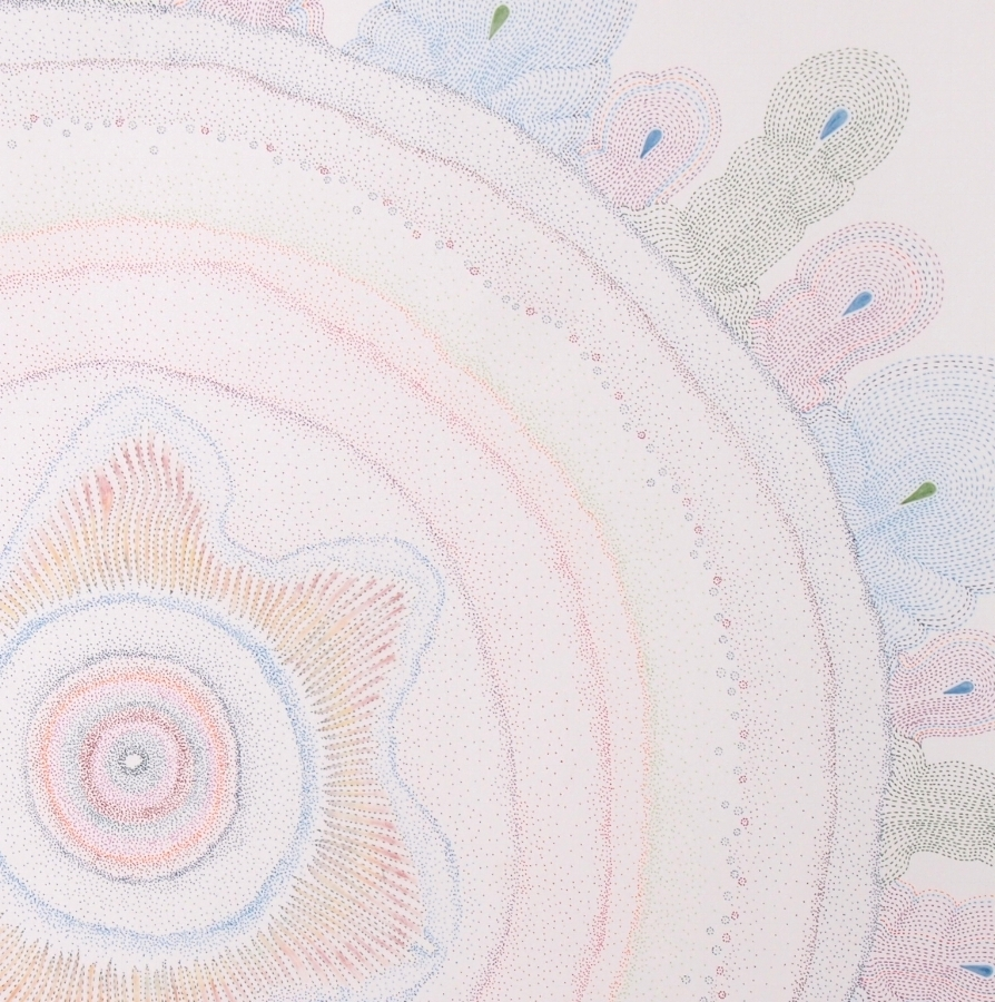 Yellow Pond Weed  (detail), 2016, ink and colored pencil on paper, 22 x 21.75 inches (unframed), $1250. (unframed)