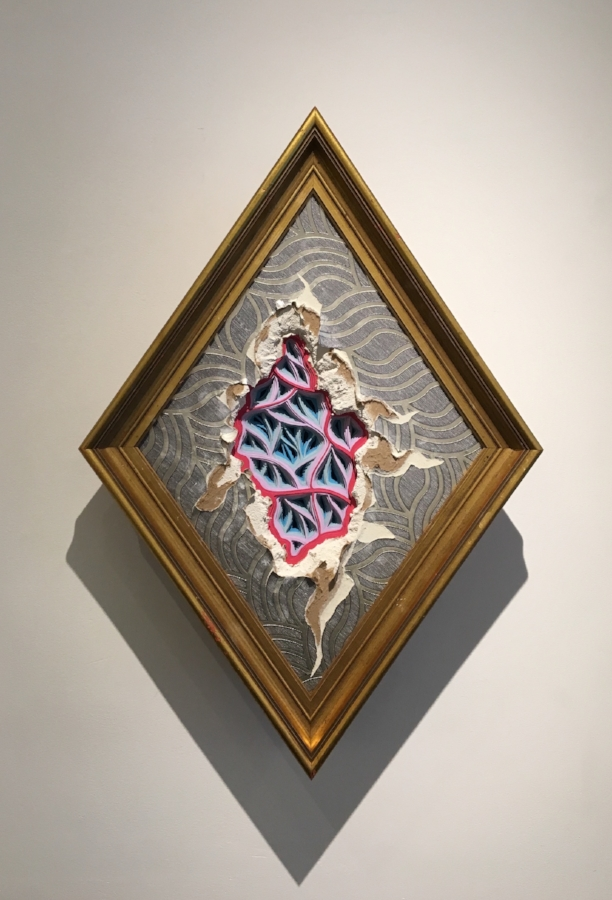 Mememto Morididdle movement #116 , 2017, hand-cut paper and wallpaper on distressed drywall and found frame, 24 x 15 x 6 inches, $1000.