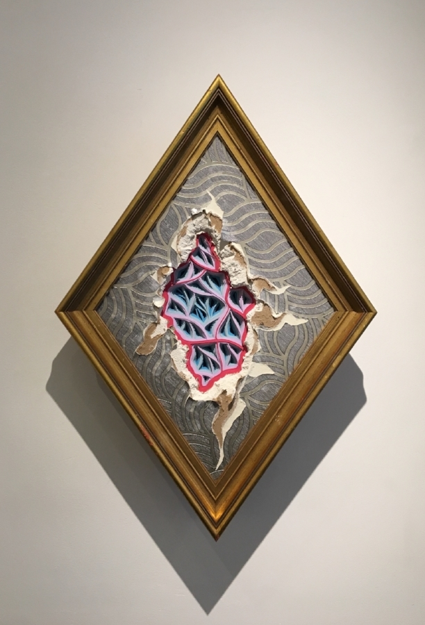 Charles Clary,  Mememto Morididdle movement #116 , 2017, hand-cut paper and wallpaper on distressed drywall and found frame, 24 x 15 x 6 inches, $1000.