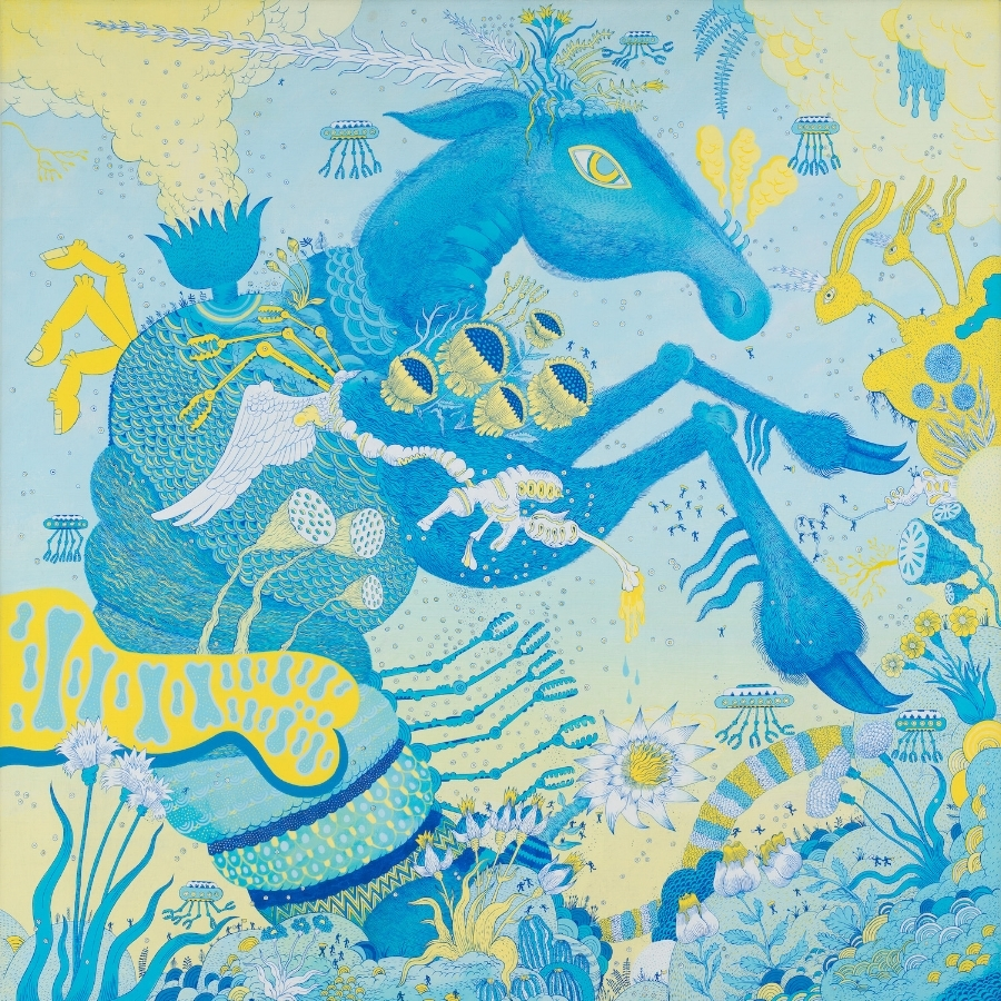 Peter Hamlin,  Blue Horsebotic , 2016, acrylic on linen, 30 x 30 inches, $3600.
