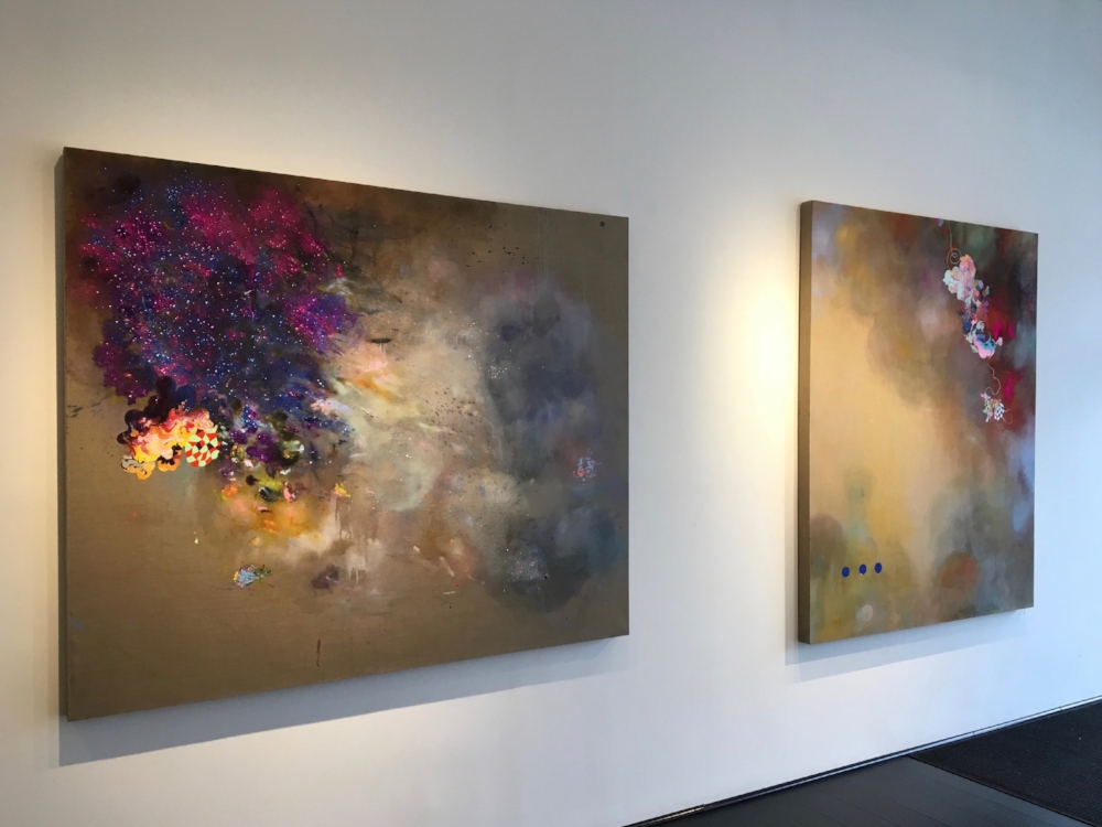 Installation view,  Closer Than They Appear  (left) and  Infatuation Engine  (right)