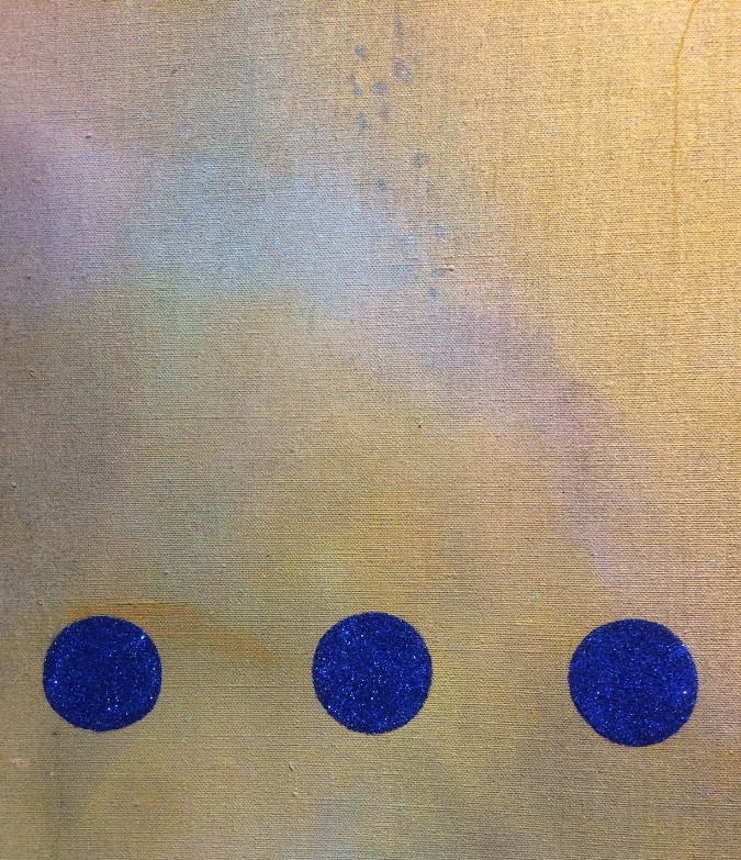 Infatuation Engine  (detail), 2016, oil, oil enamel, spray paint, glitter, pigment on linen, 72 x 60 inches, $10,000.