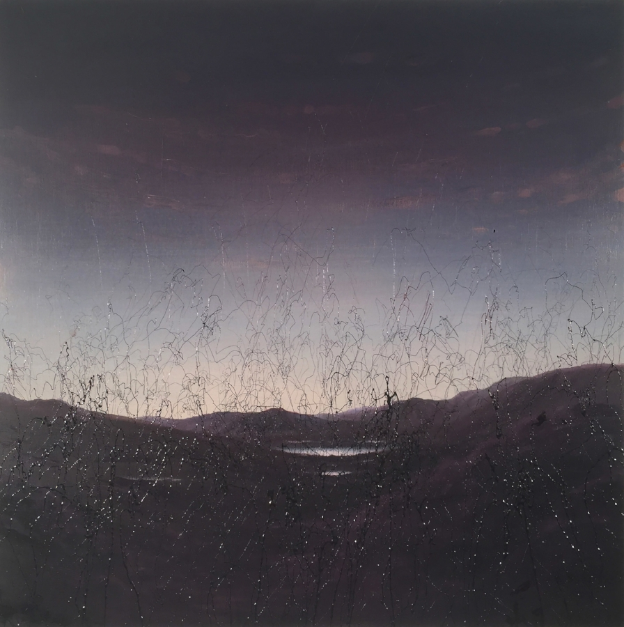 Shane McAdams,  Blown Horizon , 2016, ballpoint pen and oil on panel, 24 x 24 inches, $4000.