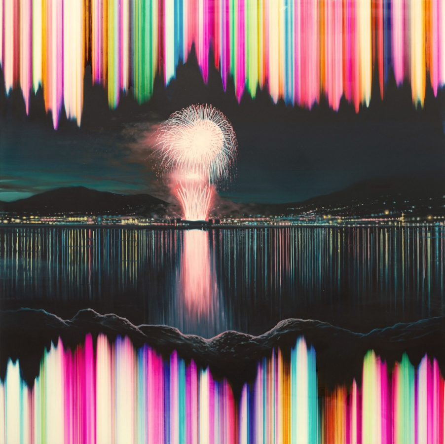 Shane McAdams,  Firework , 2013, ballpoint pen, resin and oil on panel, 48 x 48 inches, $9000.