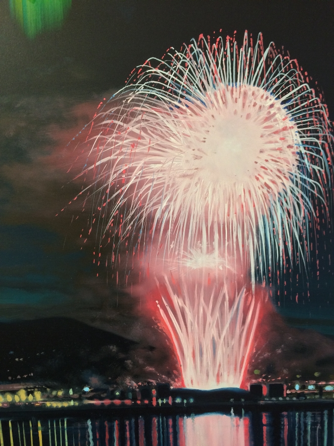 Shane McAdams,  Firework  (detail), 2013, ballpoint pen, resin and oil on panel, 48 x 48 inches, $9000.