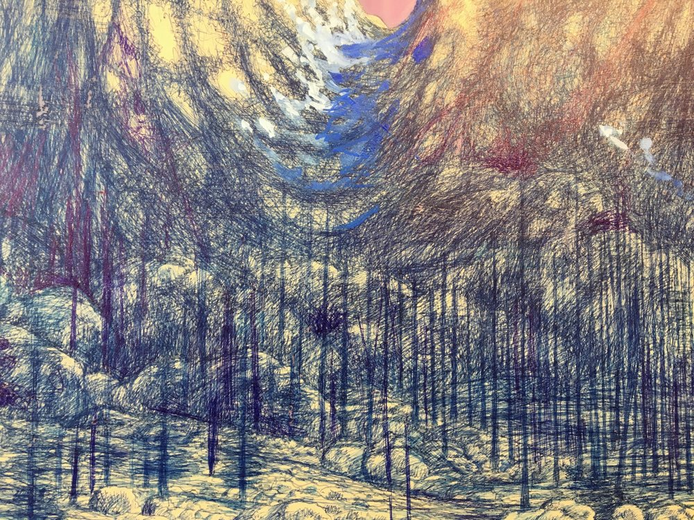 Shane McAdams,  Organ Mountains  (detail), 2014 ballpoint pen, oil and resin on panel, 48 x 48 inches, $9000.