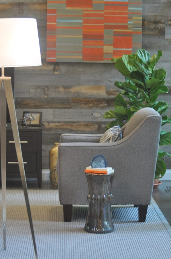 Installation view, Elizabeth Gourlay,  kantele , HGTV Property Brothers 2016, Season 10, Episode 9, design by Kim Mitchell of KAM Design