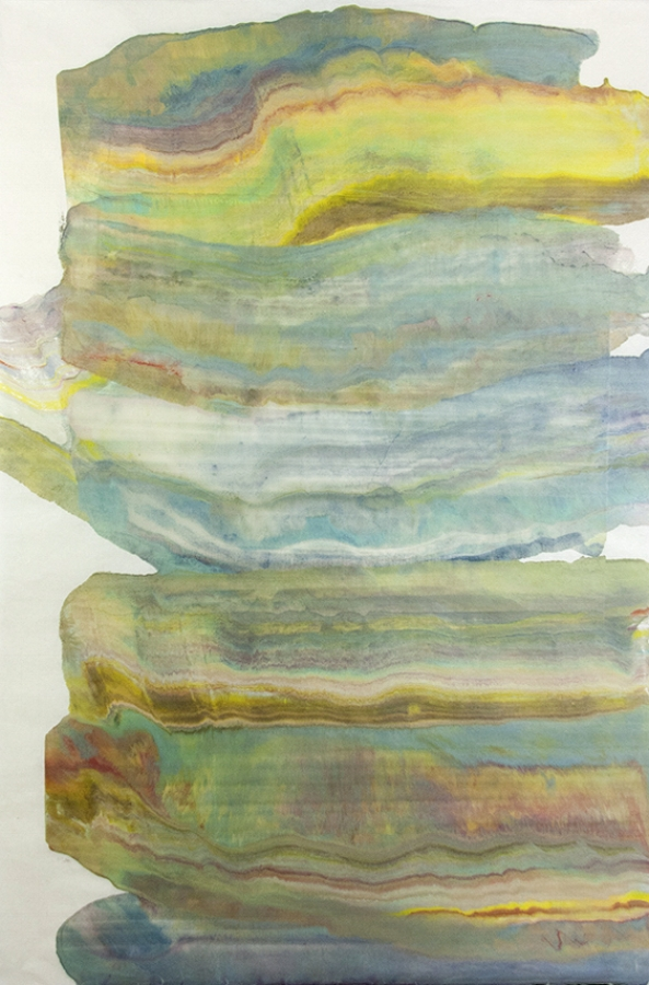 Foundation 13 , 2017, encaustic monotype on kawashi, 39 x 26 inches (unframed), $1000. (unframed)