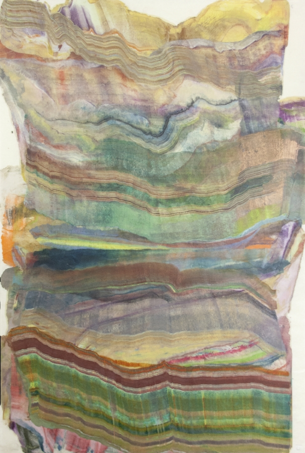 Foundation 6 , 2017, encaustic (pigmented beeswax) monotype on Kawashi paper, 39 x 26 inches, $1000. (unframed)*can be oriented vertically or horizontally