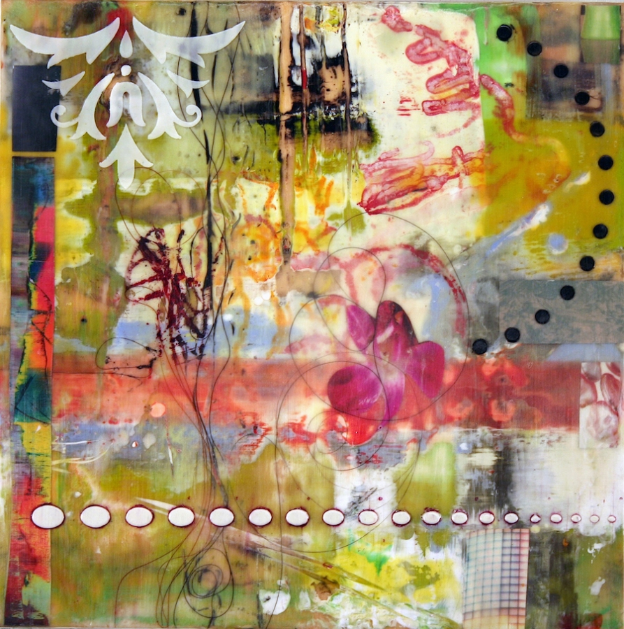 Swish , 2015 encaustic (pigmented beeswax), collage and mixed media on branded silk on panel, 10 x 10 x 1 inches, $500.