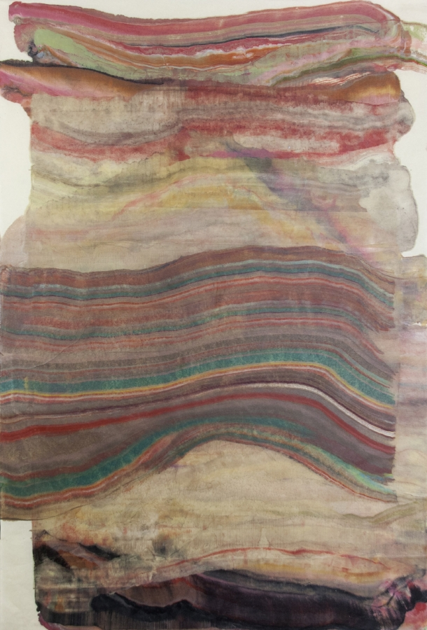 Foundation 12 , 2017, encaustic (pigmented beeswax) monotype on Kawashi paper, 39 x 26 inches, $1000. (unframed)*can be oriented vertically or horizontally