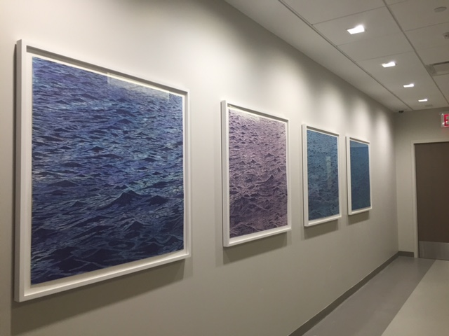 Four Seascape wood block prints installed at White Plains Hospital, White Plains, NY