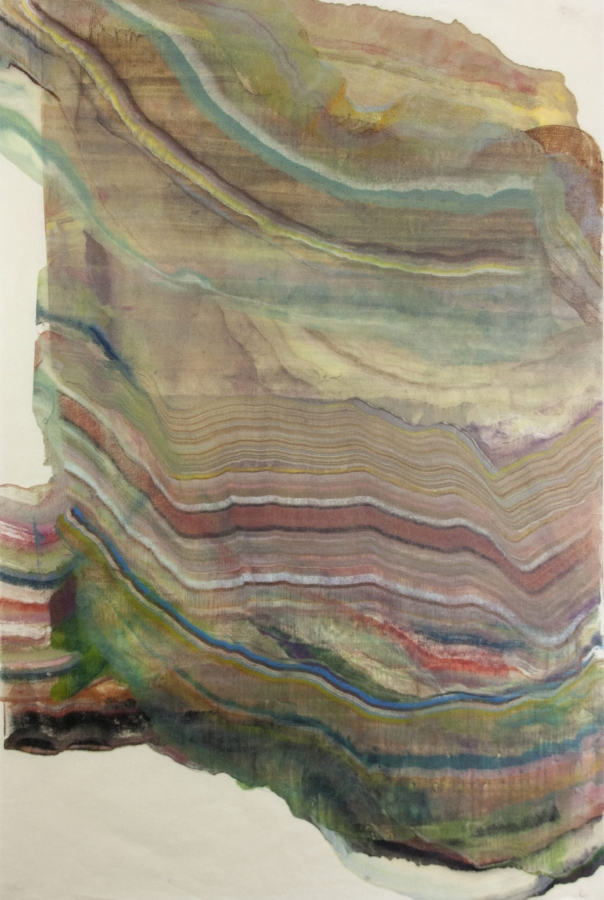 Foundation 11 , 2017, encaustic (pigmented beeswax) monotype on Kawashi paper, 39 x 26 inches, $1000. (unframed)*can be oriented vertically or horizontally