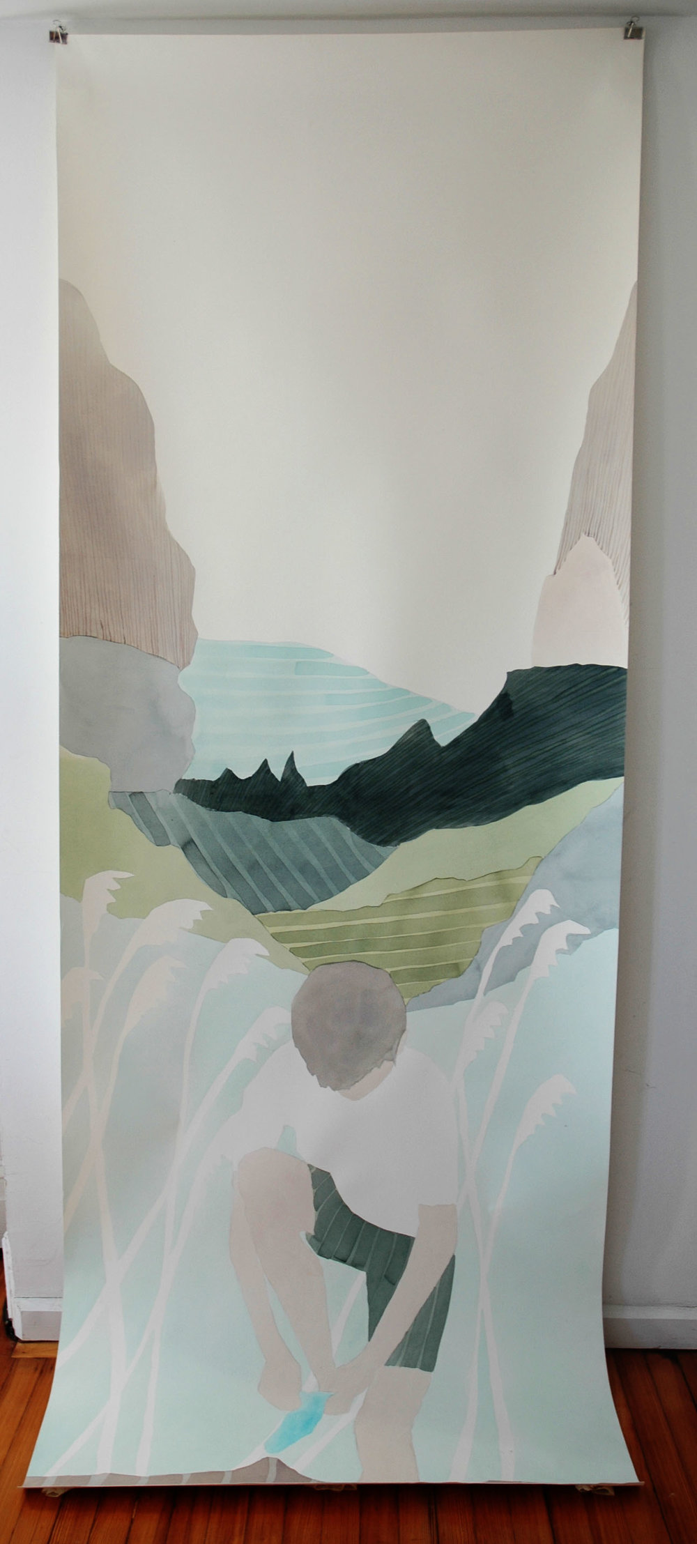 After swimming , 2012/2017, watercolor on paper, 116 x 42 inches, $7800. (unframed)