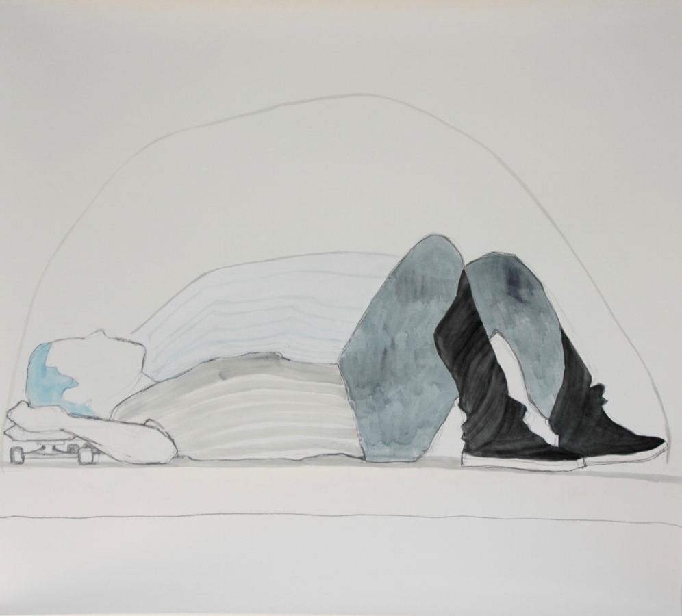 Paul breathing , 2017, graphite, watercolor, oil on paper, 38 x 44 inches (unframed), $4000. (unframed), 43.5 x 50 inches (framed), $4700. (framed)