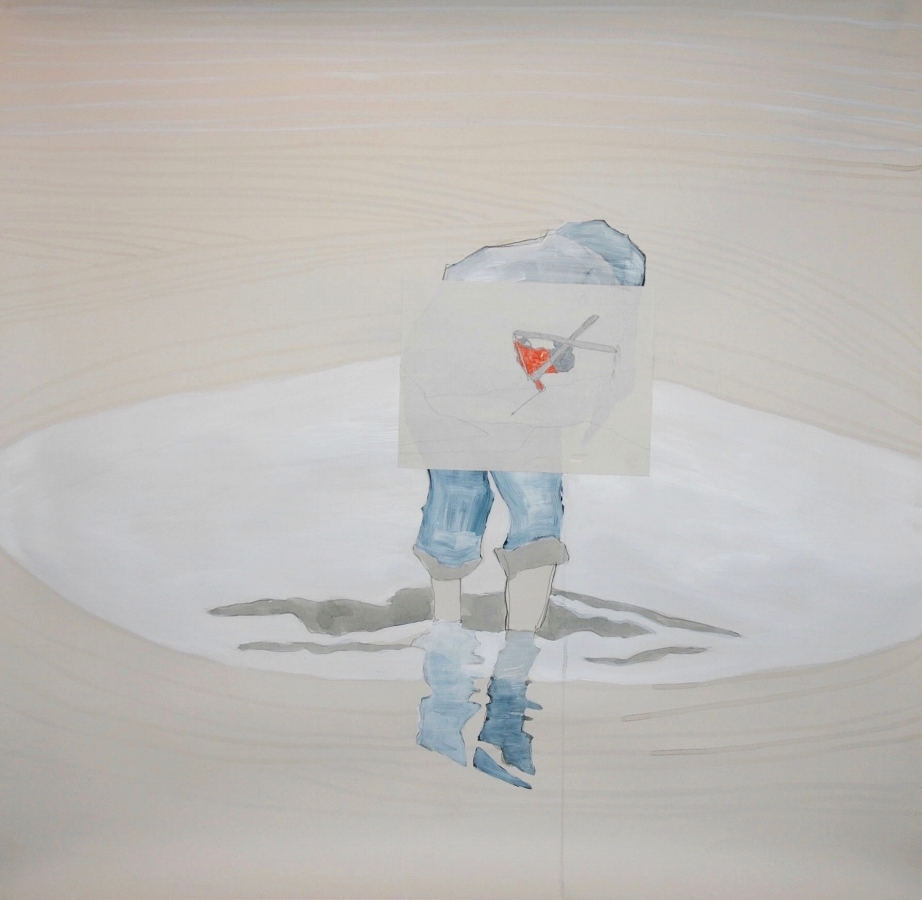 Girl in water , 2016, graphite, watercolor, acrylic and collage on Arches paper, 44 x 46 inches (unframed), $4000. (unframed), 47 x 50 inches (framed), $4700. (framed) (sold)