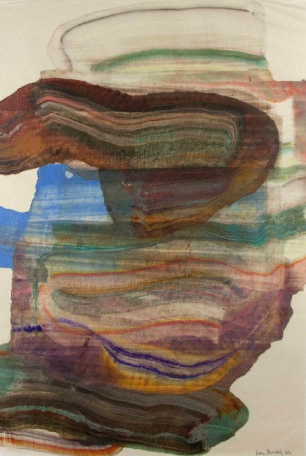 Moving Mountains 18 , 2016, encaustic monotype on Kawasaki paper, 38 x 25 inches (unframed), 46 x 31.5 inches (framed), $1250. (framed) (sold)