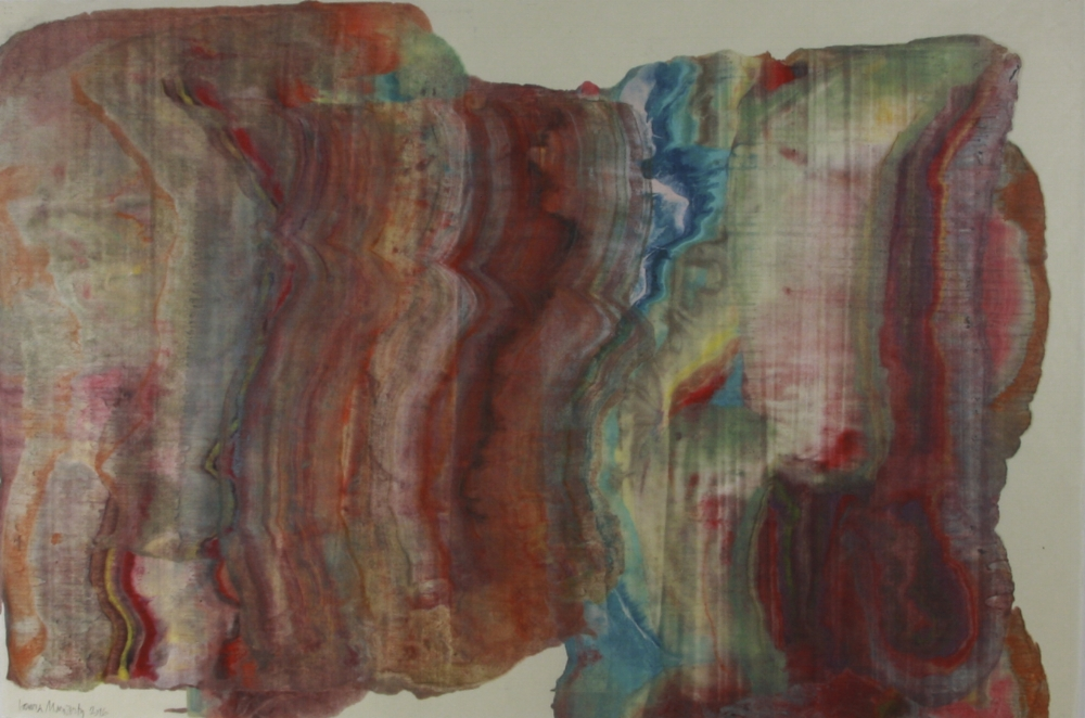 Moving Mountains 19 , 2016, encaustic (pigmented beeswax) monotype on Kawasaki paper, 25 x 38 inches (unframed), 31.5 x 46 inches (framed), $1250. (framed) (sold)