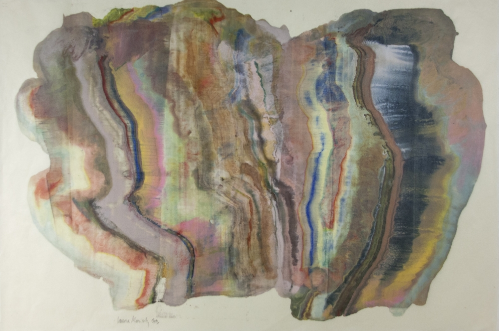 Moving Mountains 20 , 2016, encaustic (pigmented beeswax) monotype on Kawasaki paper, 25x 38 inches (unframed), 31.5 x 46 inches (framed), $1250. (framed) (sold)
