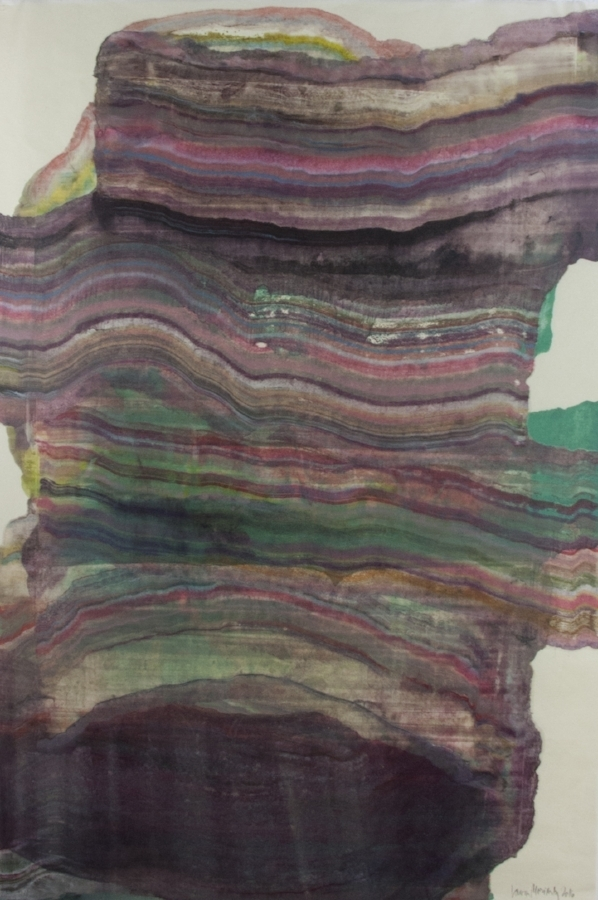Moving Mountains 12 , 2016, encaustic monotype on Kawasaki paper, 38 x 25 inches (unframed), 46 x 31.5 inches (framed), $1250. (framed)