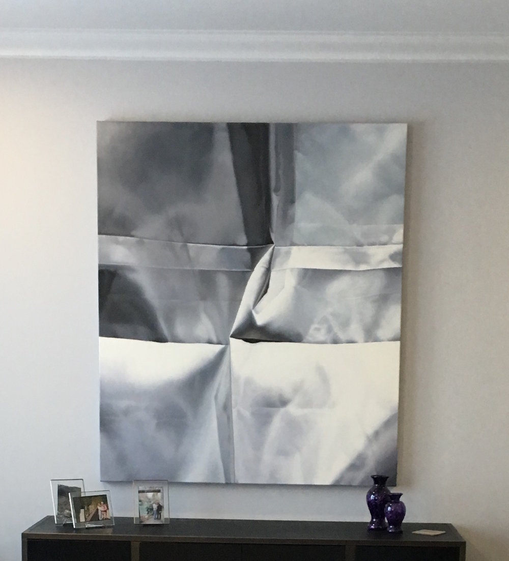 Installation view,  Pale Gray No. 3 , 2015, oil on canvas, 56 x 48 inches, $9000.