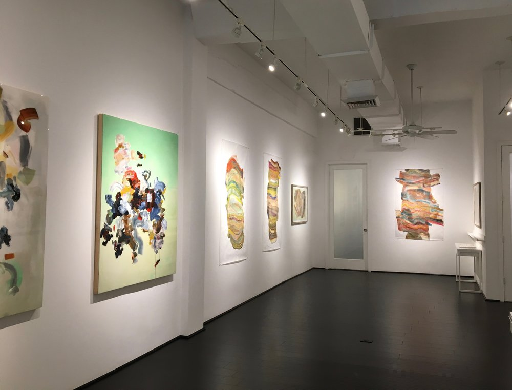 Installation view with work by Janna Watson (near right) and Laura Moriarty (distant right and rear wall),  Focus, Janna Watson, Spring 2017