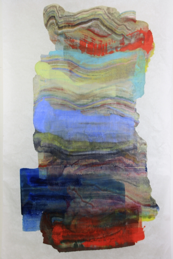 Resting , 2016, encaustic (pigmented beeswax) monotype on Kikura paper, 80 x 39 inches (unframed)*, $4800. (unframed) *can be oriented vertically or horizontally