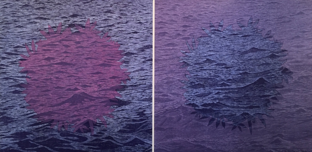 SeaBloom variation 14 and variation 15  (diptych), 2016, woodcut print with colored inks on paper, editions 1/1 (monotypes), 36 x 72 inches, $5600. (diptych) (unframed)