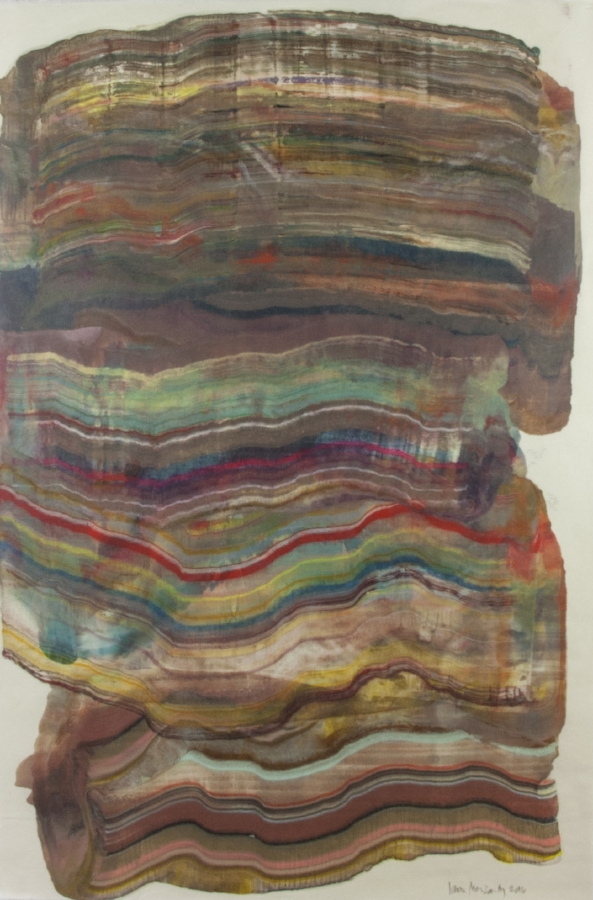 Moving Mountains 15 , 2016, encaustic (pigmented beeswax) monotype on Kawasaki paper, 38 x 25 inches (unframed), 46 x 31.5 inches (framed)*, $1250. (framed) (sold)