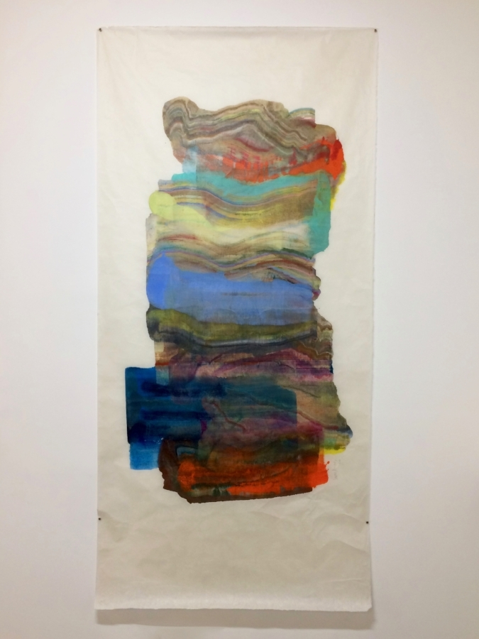 Resting  (installation view), 2016, encaustic (pigmented beeswax) monotype on Kikura paper, 80 x 39 inches, $4800. (unframed) *can be oriented vertically or horizontally