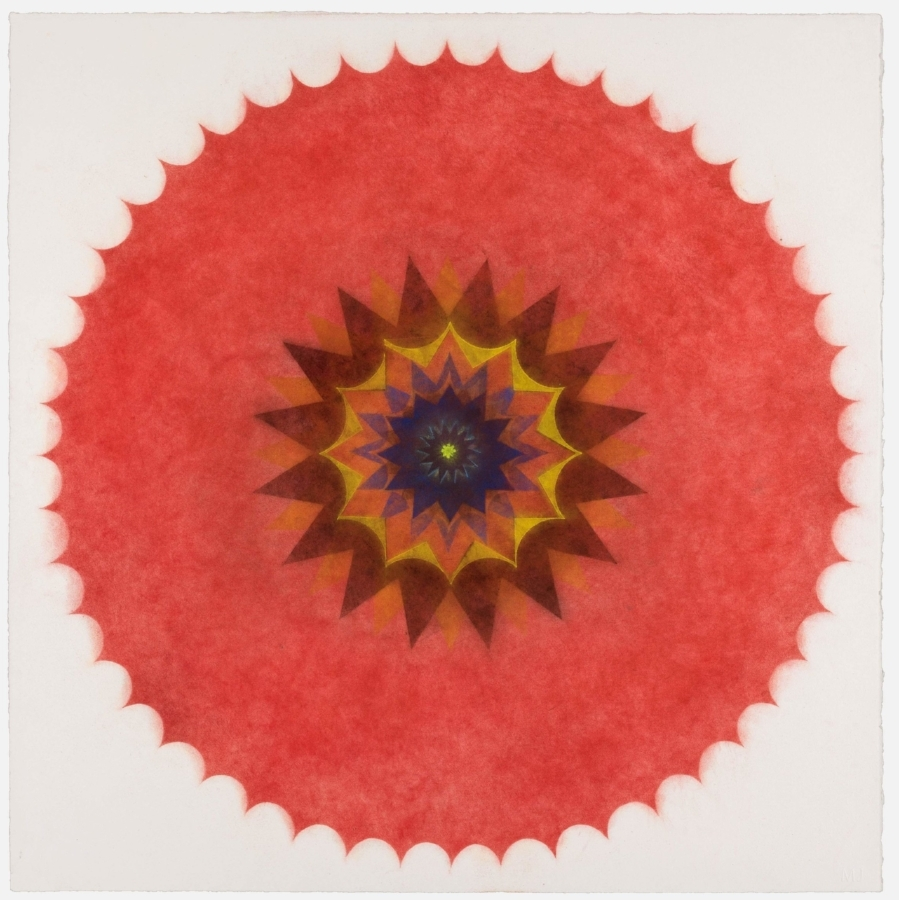 Pop Flower 47 , 2017, powdered pigment on paper, 30 x 30 inches (unframed), $3500. (unframed)(unframed), 33.75 x 33.75 inches (framed), $3900. (framed)
