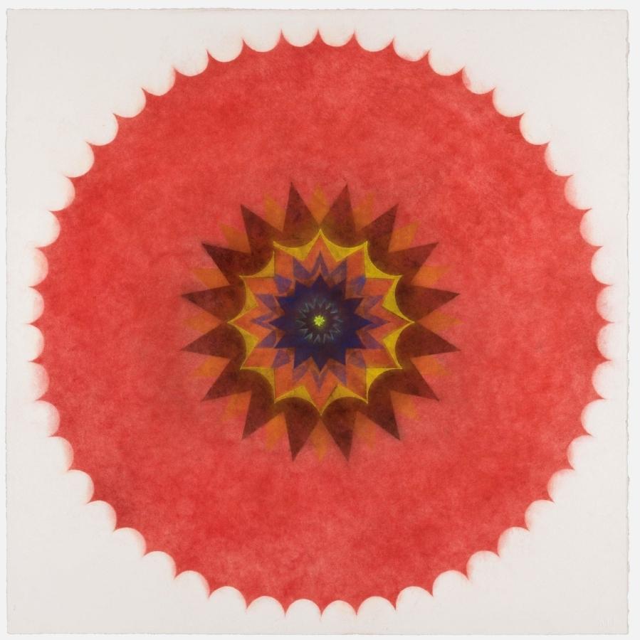 Pop Flower 47 , 2017, powdered pigment on paper, 30 x 30 inches (unframed), $3500. (unframed)