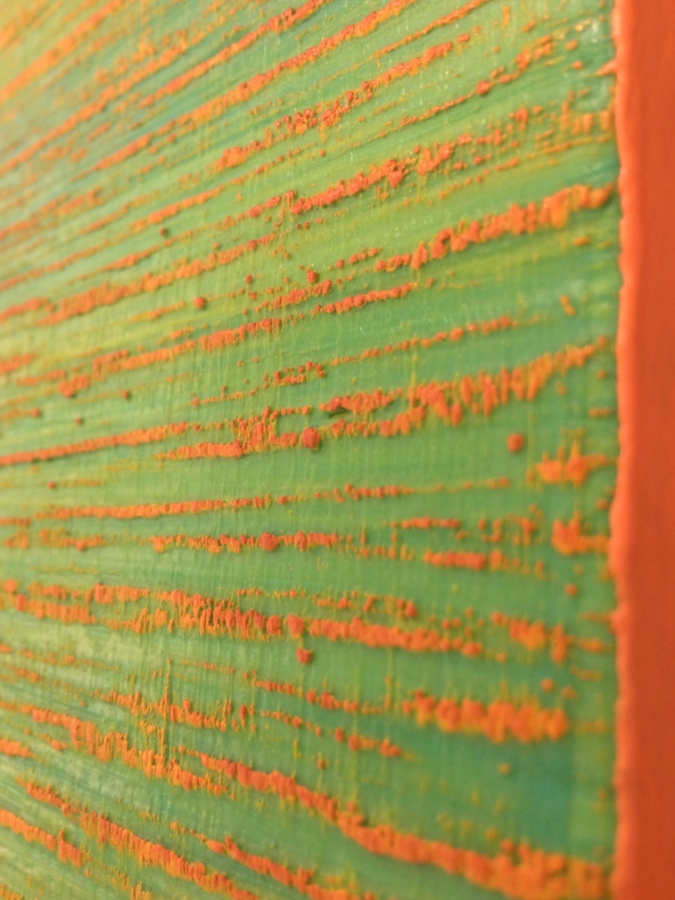 Silk Road 356  (detail), 2017, encaustic (pigmented beeswax) on panel, 18 x 18 x 1.5 inches, $4000.