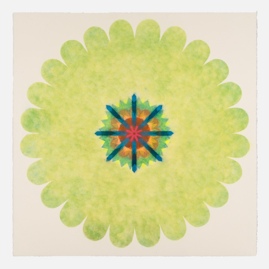 Mary Judge,  Pop Flower 37d , 2017, powdered pigment on paper, 30 x 30 inches (unframed), $3500. (unframed), 33.75 x 33.75 inches (framed), $3900. (framed)