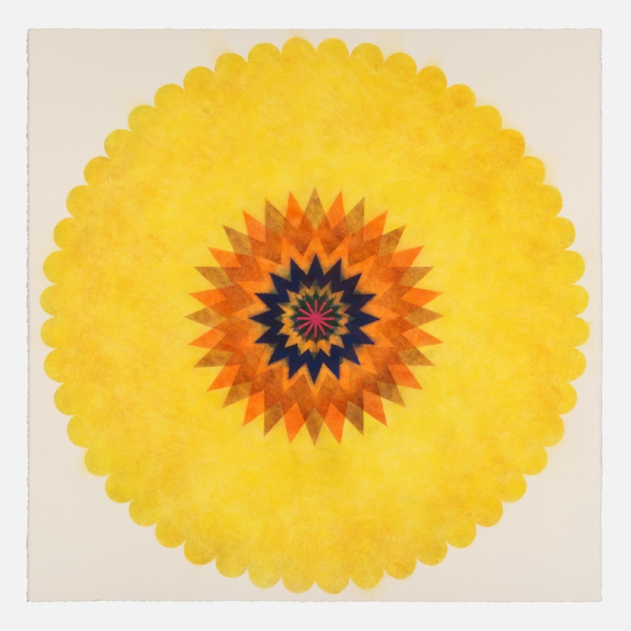 Mary Judge,  Pop Flower 39 , 2017, powdered pigment on paper, 30 x 30 inches (unframed), $3500. (unframed), 33.75 x 33.75 inches (framed), $3900. (framed)